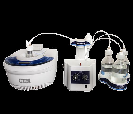 整套CEM Discover Bio手動胜肽合成系統,包含聚焦式微波反應器、光纖溫控系統氮氣攪拌及溶劑添加系統
