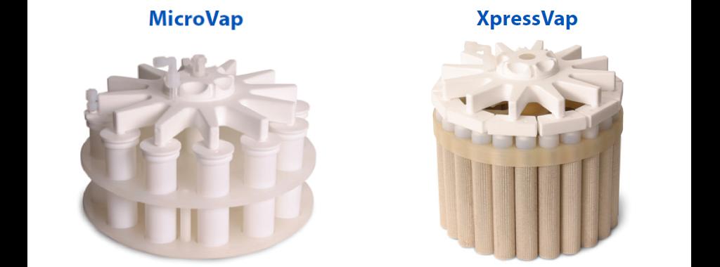 搭配CEM 微波消化瓶組使用的蒸發濃縮系統,左側MicroVap適用EasyPrep系列瓶組、右側XpressVap適用Xpress系列瓶組