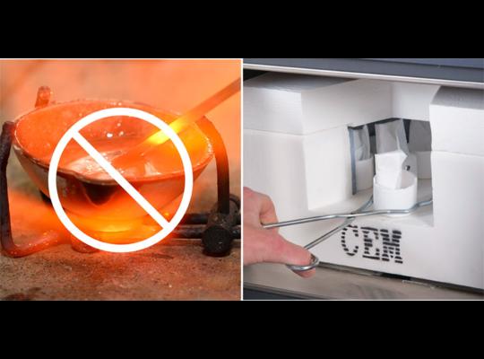 Phoenix微波高溫燒結/合成系統使用CEM專利石英纖維坩堝,讓灰化更快速安全