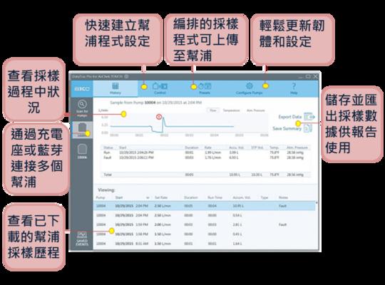 SKC DataTracPro 氣體採樣器專用校正軟體